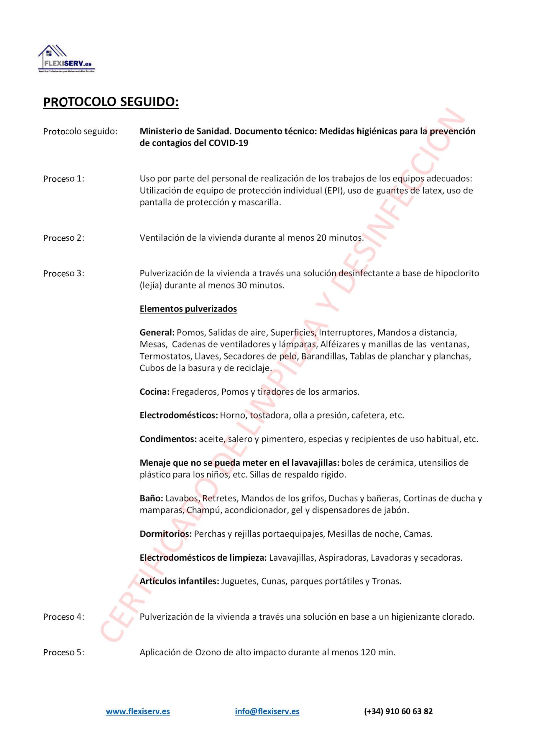 Certificado de limpienza y desinfección de apartamentos turísticos COVID19 Coronavirus